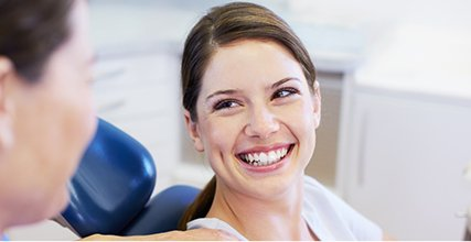Smiling dental patient